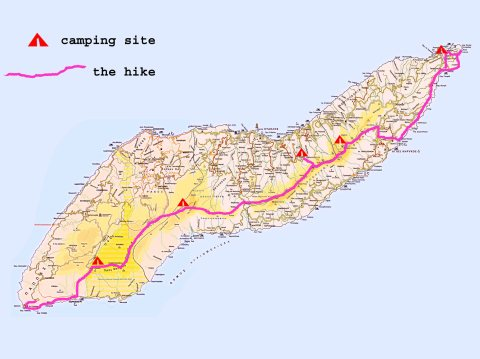 Map of a 5 day hike on Atheras ridge from cape to cape
