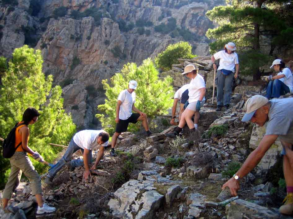 Εθελοντές από την Αθήνα δουλεύουν στα μονοπάτια της Άνω Χάλαρης, έτος 2006