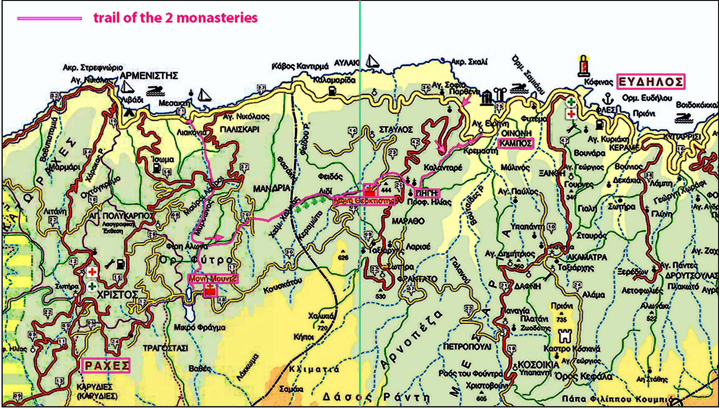 Μονοπάτι των Ξωτικών: Ράχες-Εύδηλος - χάρτης διαδρομής