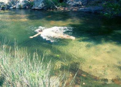 Naked wild river swimming