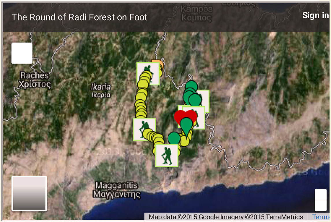 Hiking around Radi forest Ikaria - Google map