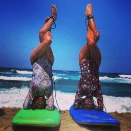 Garudasana Sirsasana on surfboards Messakti