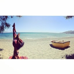Semi-Scorpion Yoga Headstand in Faros Ikaria