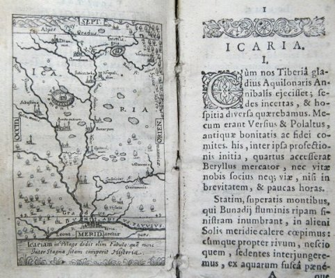 First pages of Jesuit Johann Bissel's satirical novel of 1637 with engraved allegoric title and engraved utopian map of Icaria with imaginary names of cities, rivers, etc.