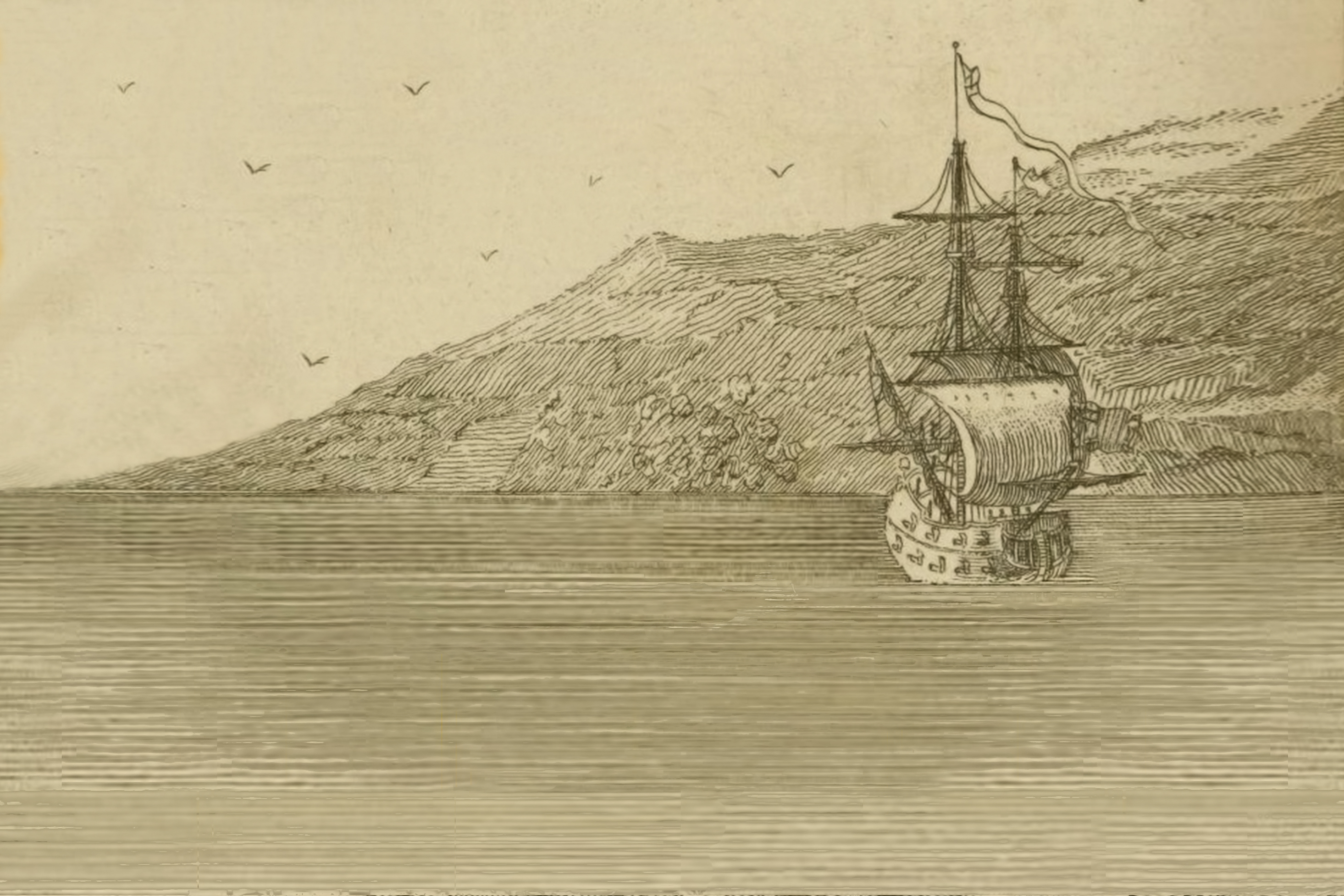 Imaginary depiction of Charles Perry's ship wind-bound under Cape Papas in Ikaria