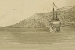 Imaginary depiction of Charles Perry's ship wind-bound under Cape Papas of Nicaria, circa 1740