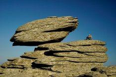 Balancing rock in ammoudia plateau, mt. Atheras, Ikaria