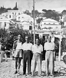 Souvenir of Ikaria, 7.10.1947. Exiles at Ayios Kirykos, Ikaria: Trifyllis, Kalokairinos, Avgeropoulos, Spyros Garezos. Archive of Maria Garezou.
