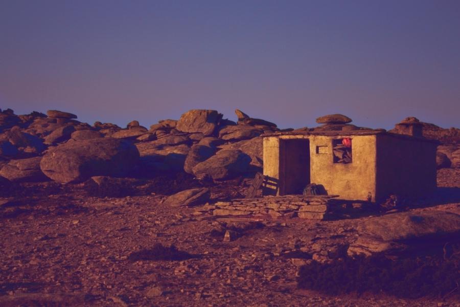 The mountain shelter on Ammoudia plateau at sunrise