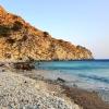 La playa de Manganitis al atardecer donde la mujer y yo nos acompanamos un rato (en el momento exacto en que la foto fue sacada)