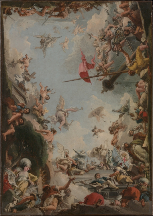 The Metropolitan Museum of Art, New York. The Glorification of the Giustiniani Family, G.D. Tiepolo (Italian, Venice 1727–1804), date 1783. The present model is for a ceiling of the ducal palace in Genoa (destroyed). At the top of the staircase Jacopo Giustiniani kneels before a personification of the Ligurian Republic. A female in the left corner represents the island of Chios; she holds a scroll with the initials V.I. and 1562, in reference to a sixteenth-century governor of the island, Vincenzo Giustiniani. Figures in oriental dress at right allude to the commercial enterprises of the Giustiniani in Asia Minor.