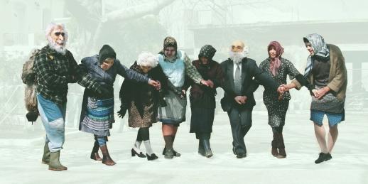 Eleni's Carnival in Ikaria, Decrepit Dance, mocking the myth of longevity