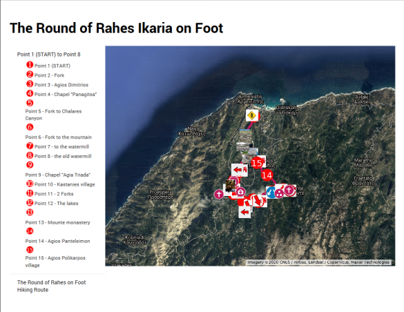 Hiking map of the Round of Rahes on Foot in Ikaria
